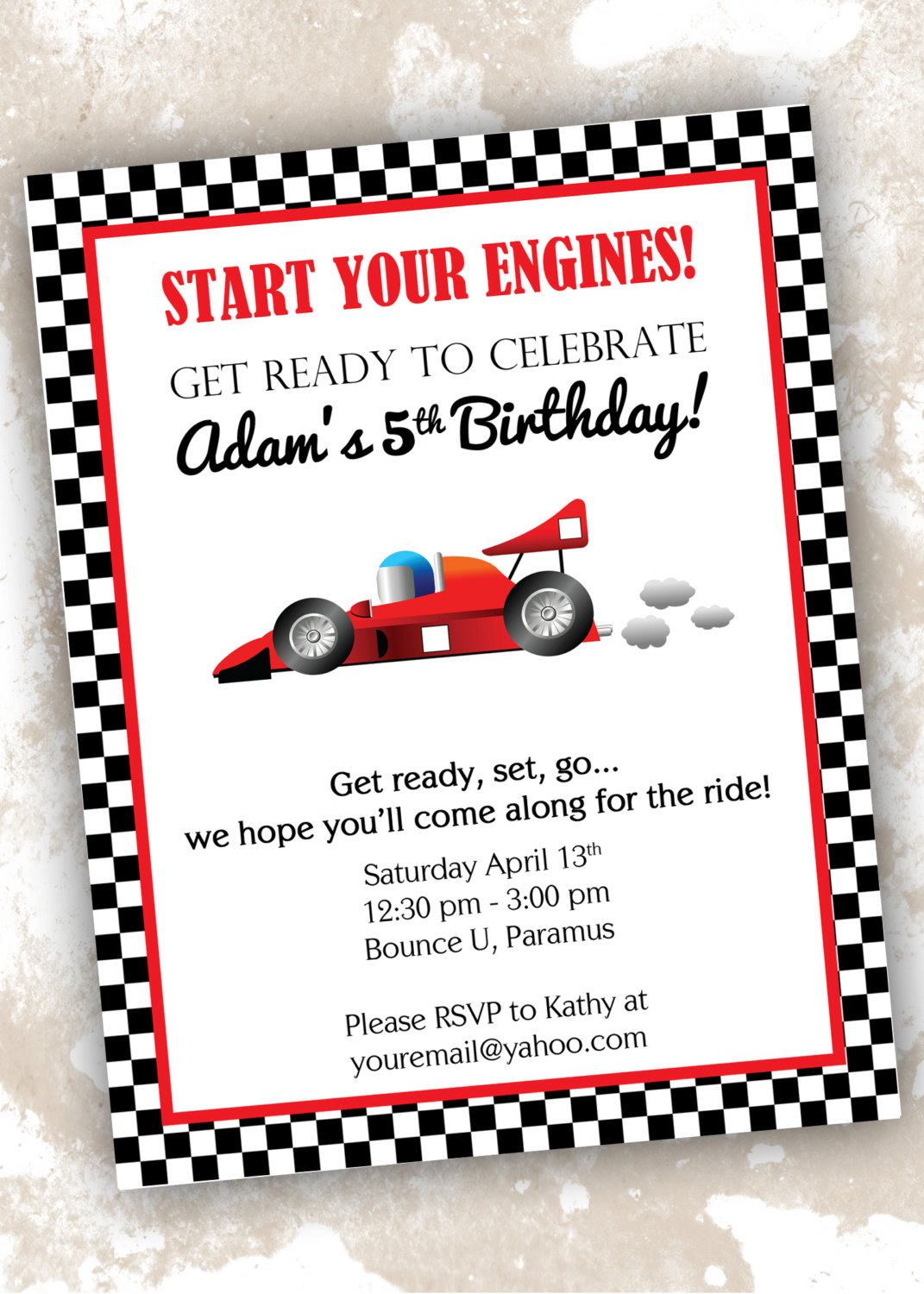 5 best images of race car invitations printable race car