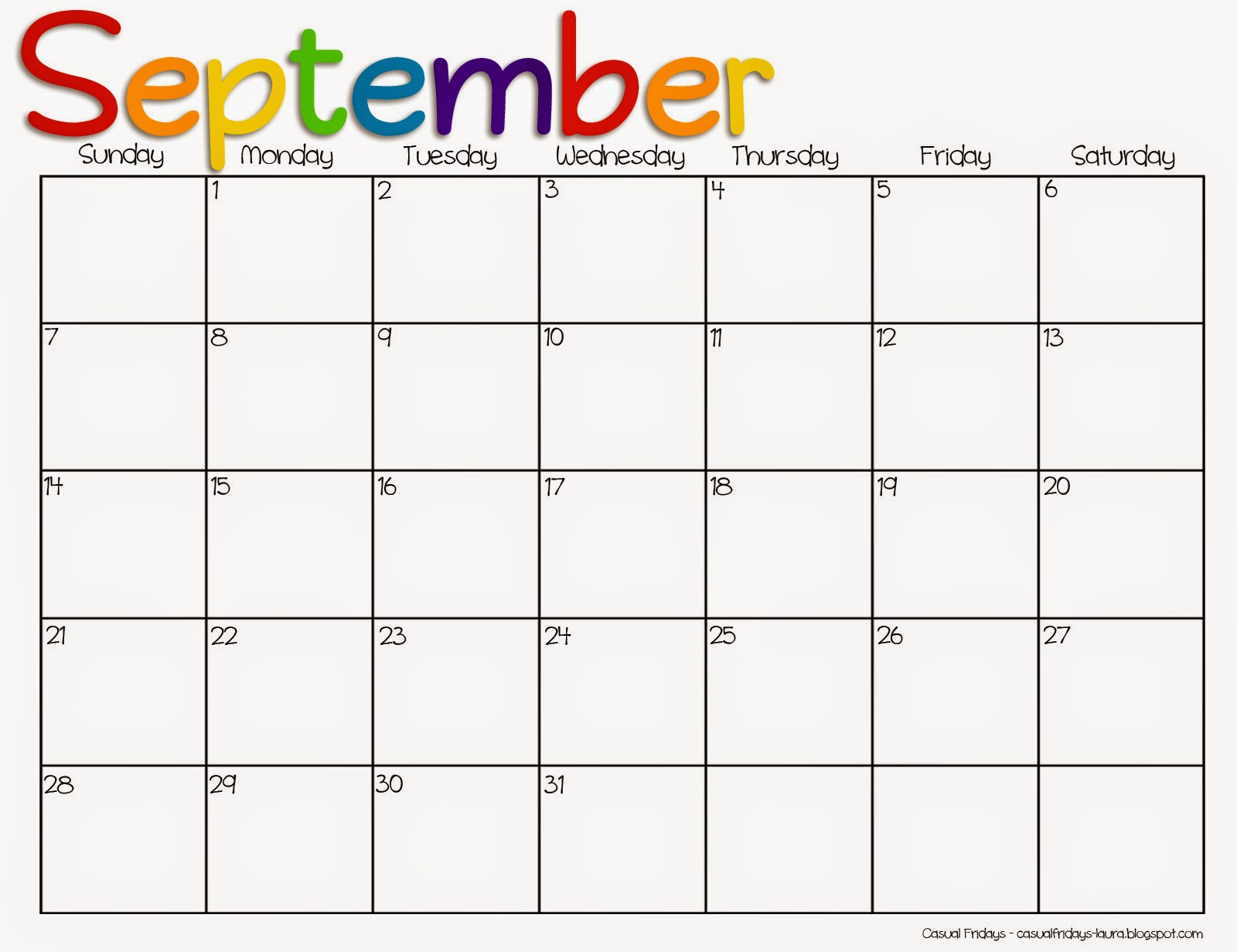 9 Images of Cute Free Printable Calendar Sept 2015