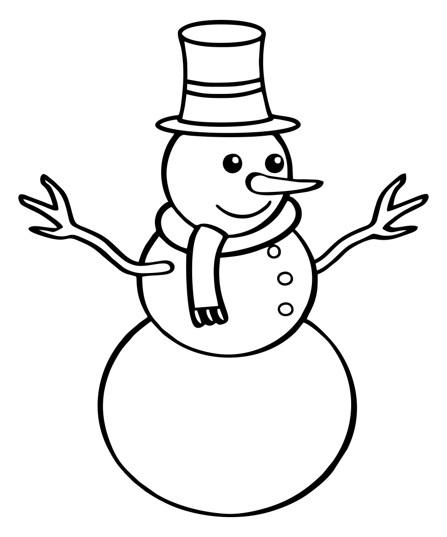 Snowman Coloring Page - Printable Christmas Coloring Pages for Kids Scan