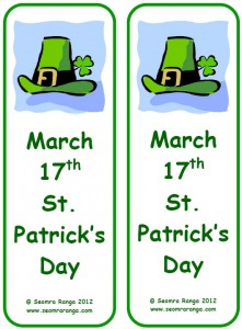 4 Images of St. Patrick's Day Printable Bookmarks