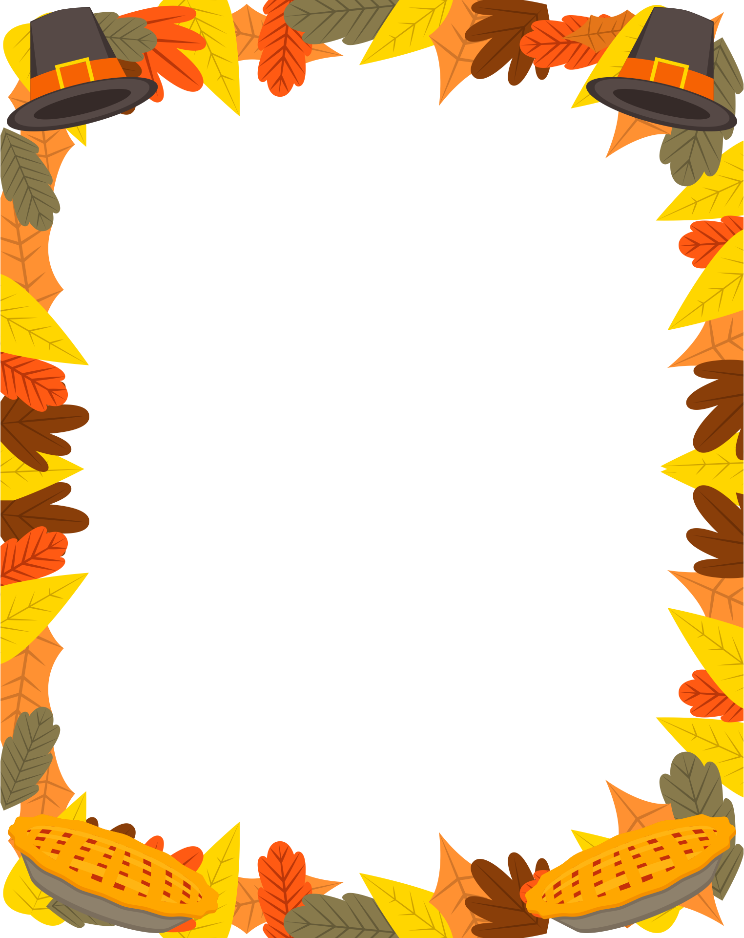 6 Images of Free Printable Thanksgiving Borders