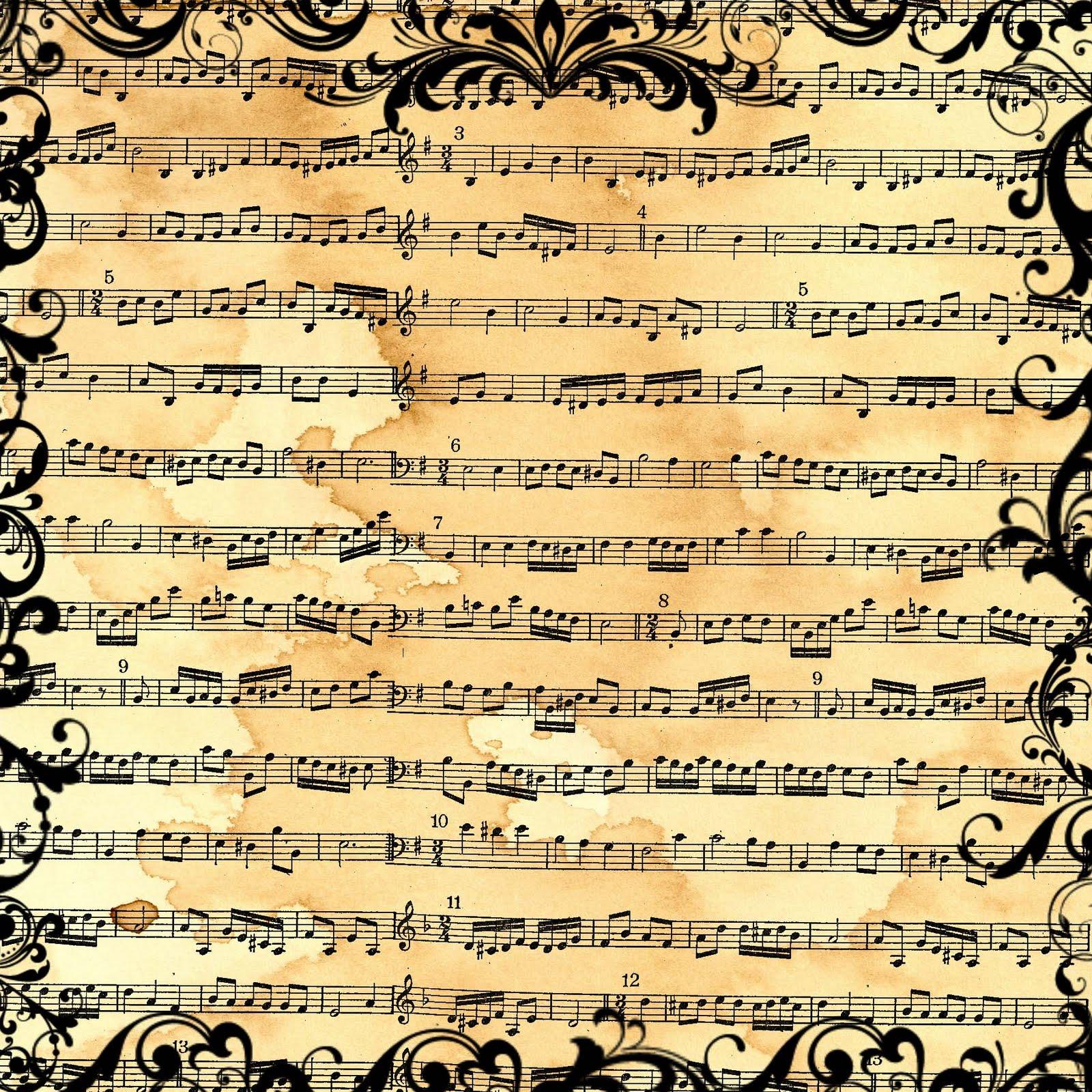 5 Images of Printable Sheet Music Scrapbook Paper