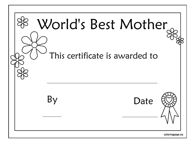 8 Images of Best Mom Award Printable Certificate On Valentine's Day
