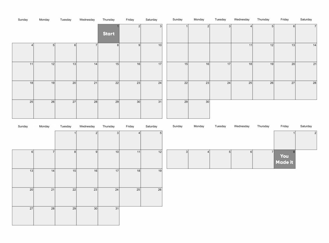 100 Day Countdown Calendar Printable