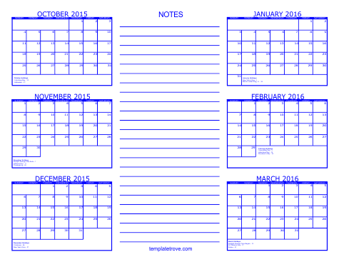 Calendar Printable, October 2016 Calendar Printable Free and 6 Month ...