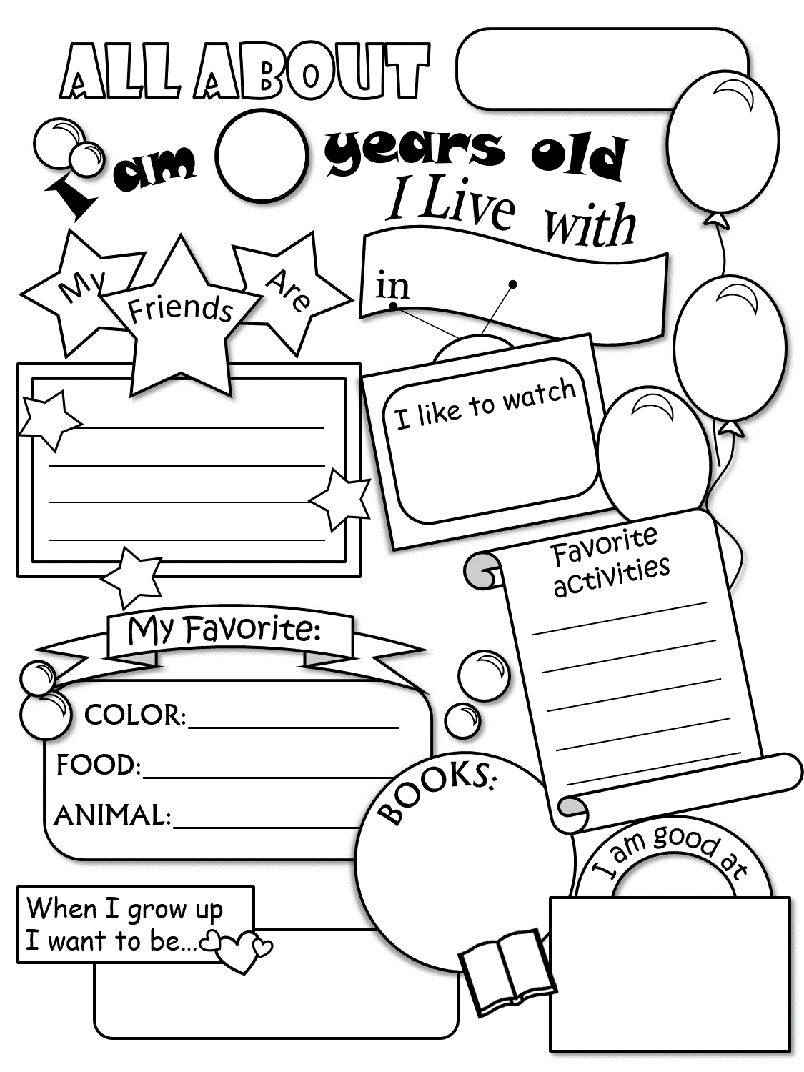 Free Printable Worksheet All About Me - Intrepidpath