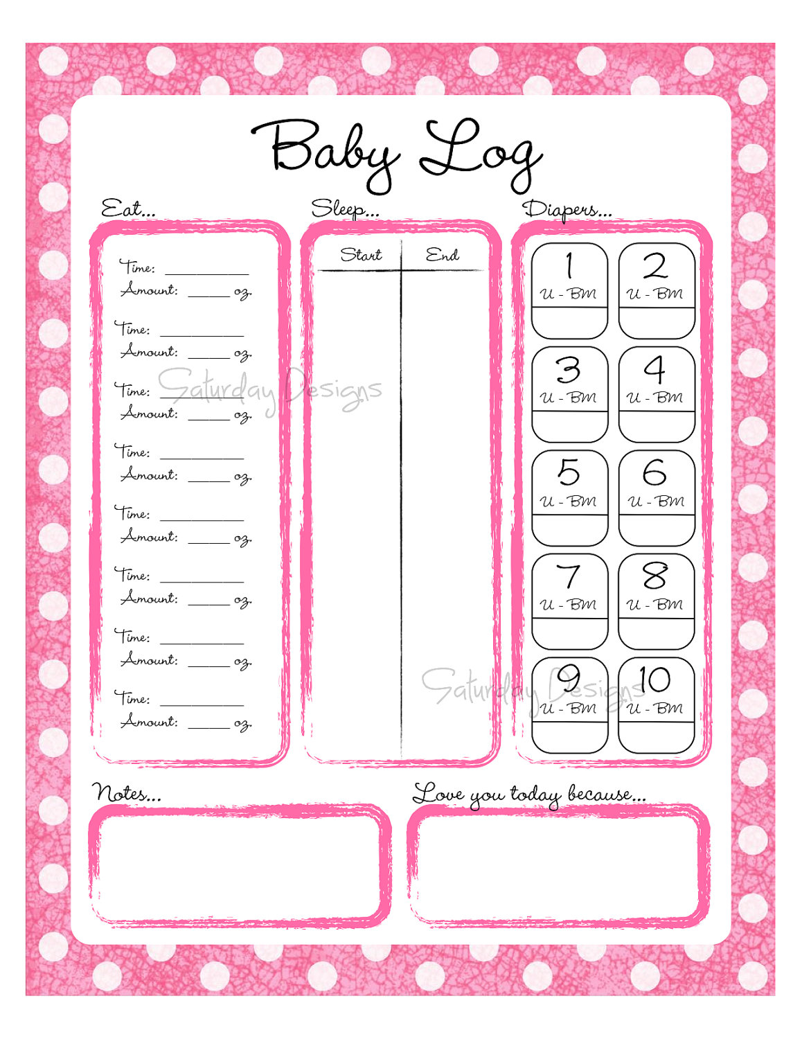 6 best images of diaper logs printables baby daily for Baby routine template