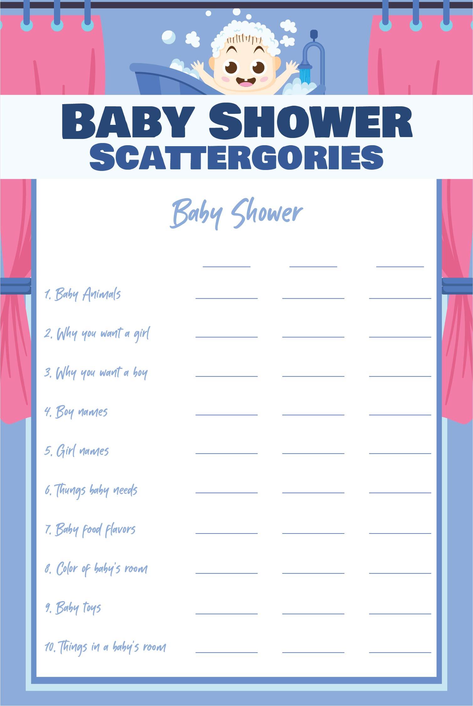 Baby Scattergories Printable Free