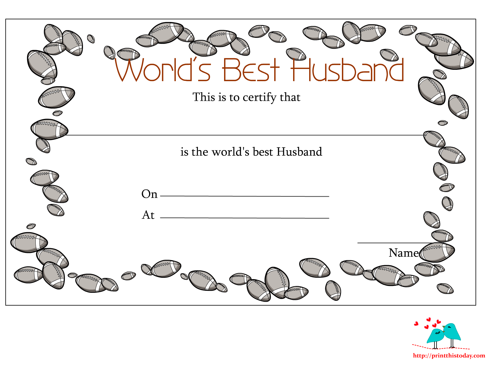 6 Images of Free Printable Certificates For Husbands