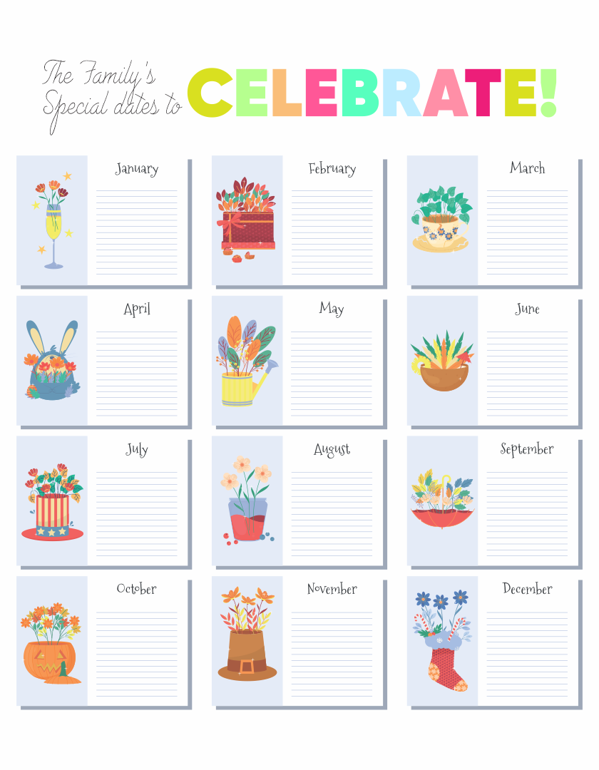 Birthday Reminder Chart Printable