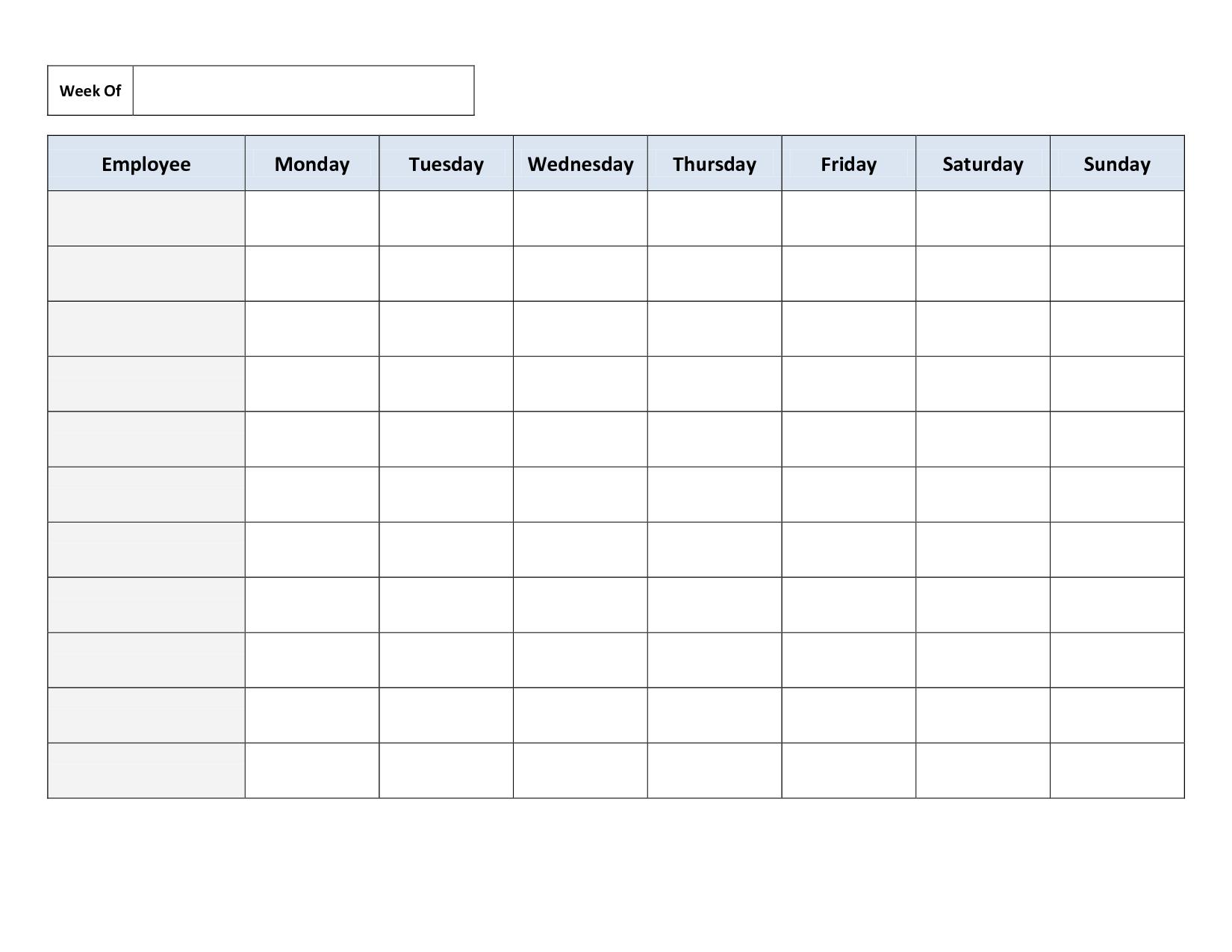Blank Weekly Work Schedule Template