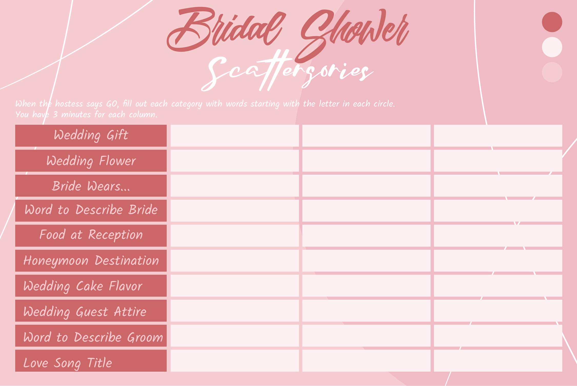 Bridal Scattergories Printable Sheets