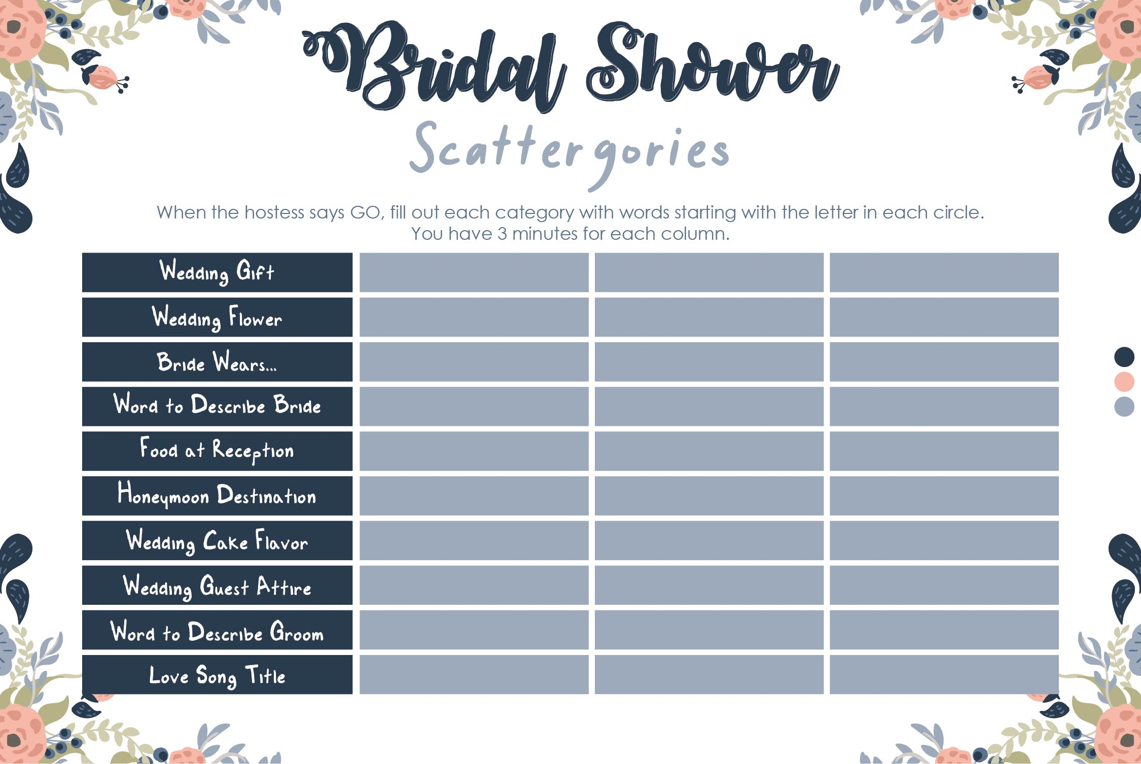 templates for bridal shower games - 6 best images of bridal scattergories sheets printable