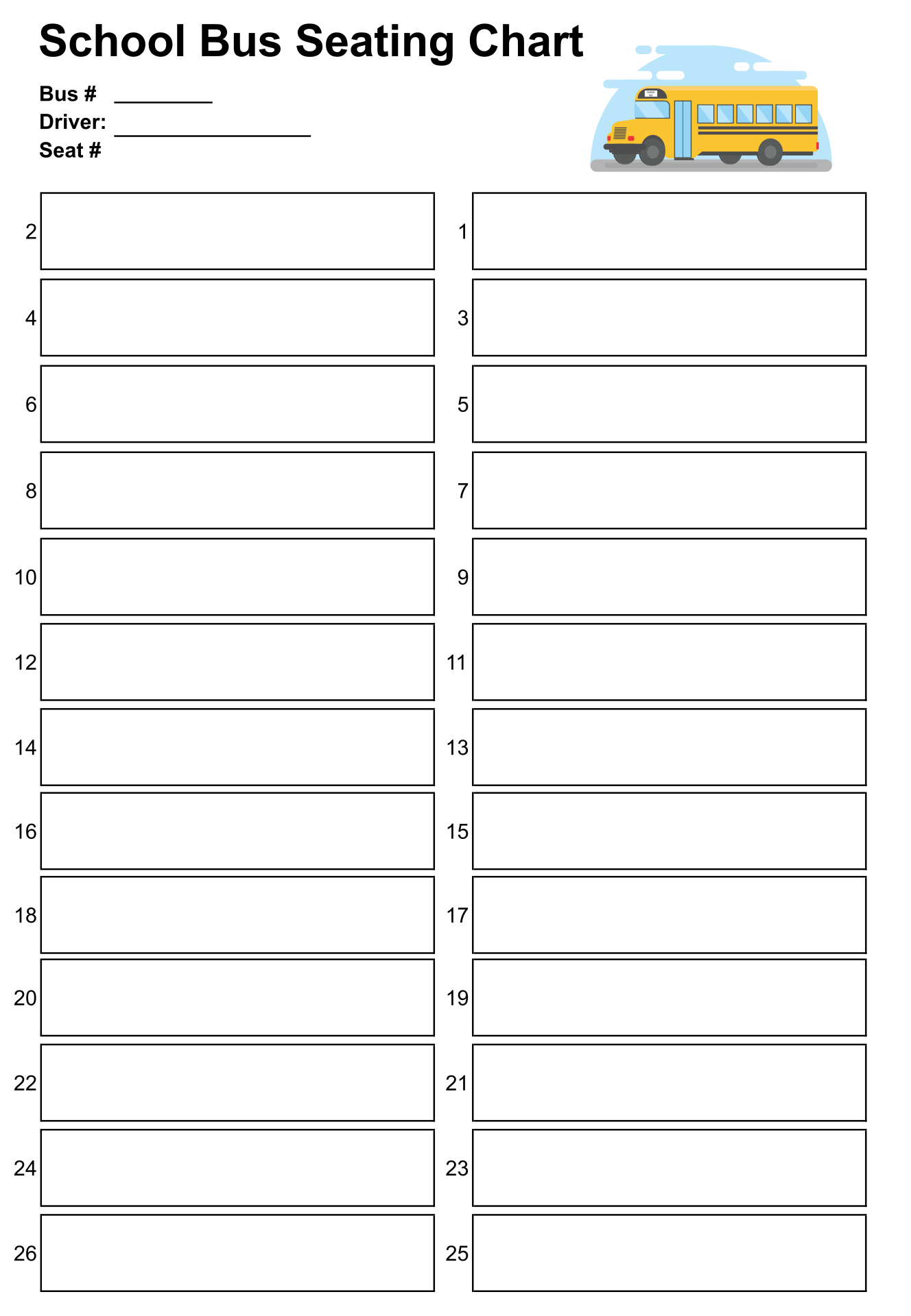 Bus Seating Chart Template