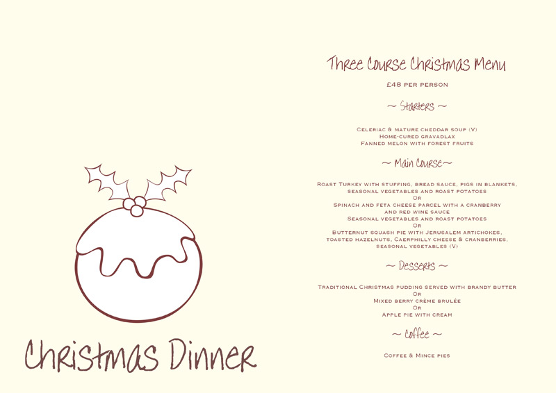 5 best images of free printable christmas dinner menu for Free menu templates for dinner party