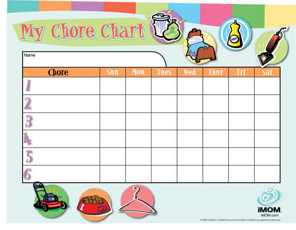 7 Images of Customizable Printable Chore Chart