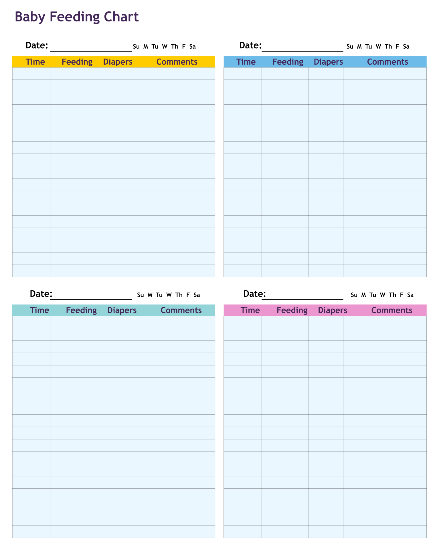 Diaper-Changing Chart Template