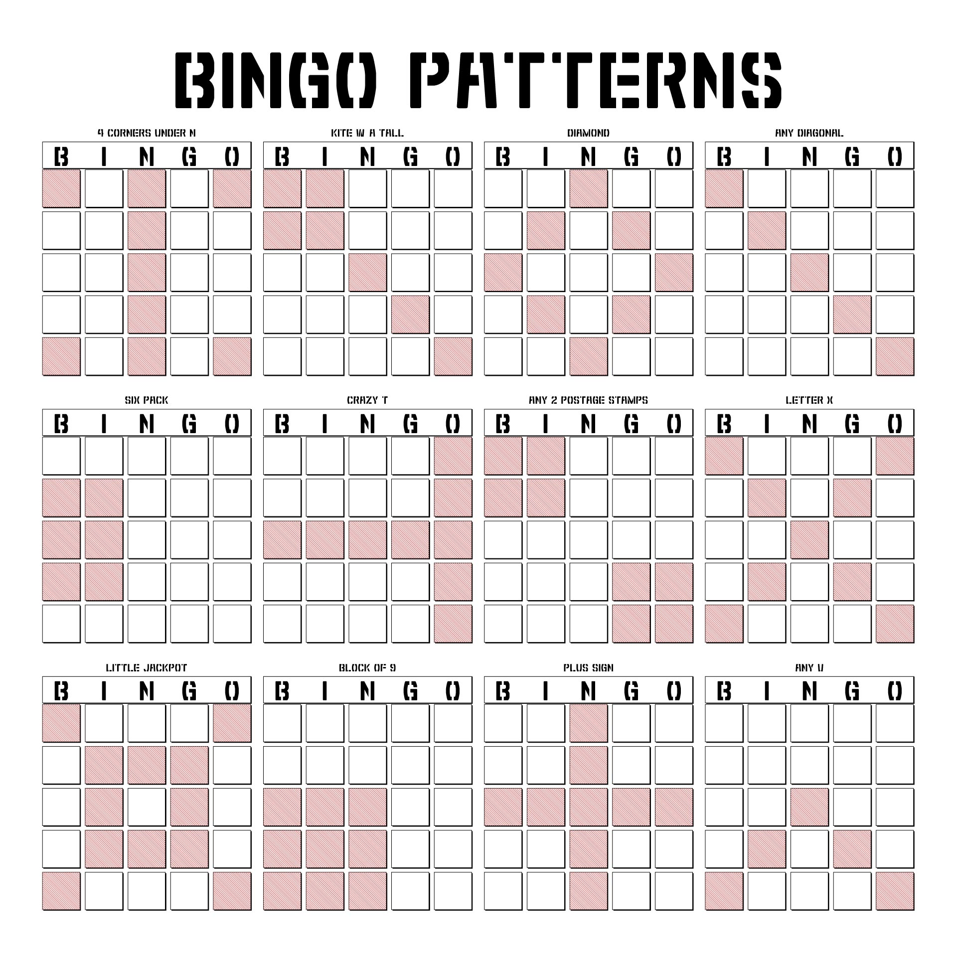 Different Bingo Game Patterns