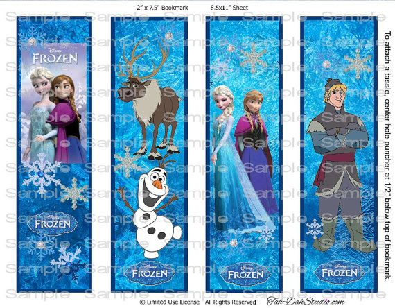 8 Images of Frozen Bookmarks Printable