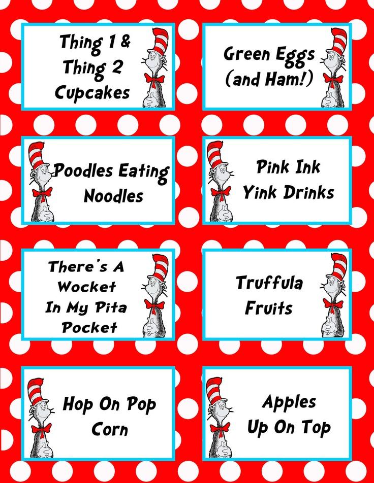 ... Hop On Popcorn and Dr. Seuss Free Printable Labels / printablee.com