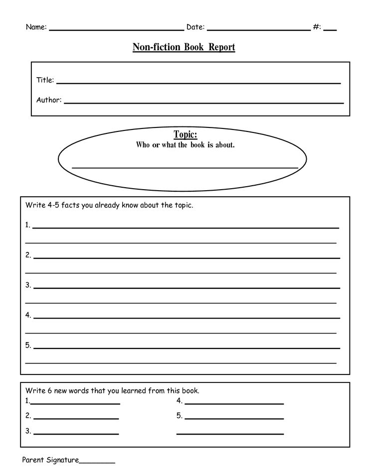 6 Images of Fiction Book Report Printable