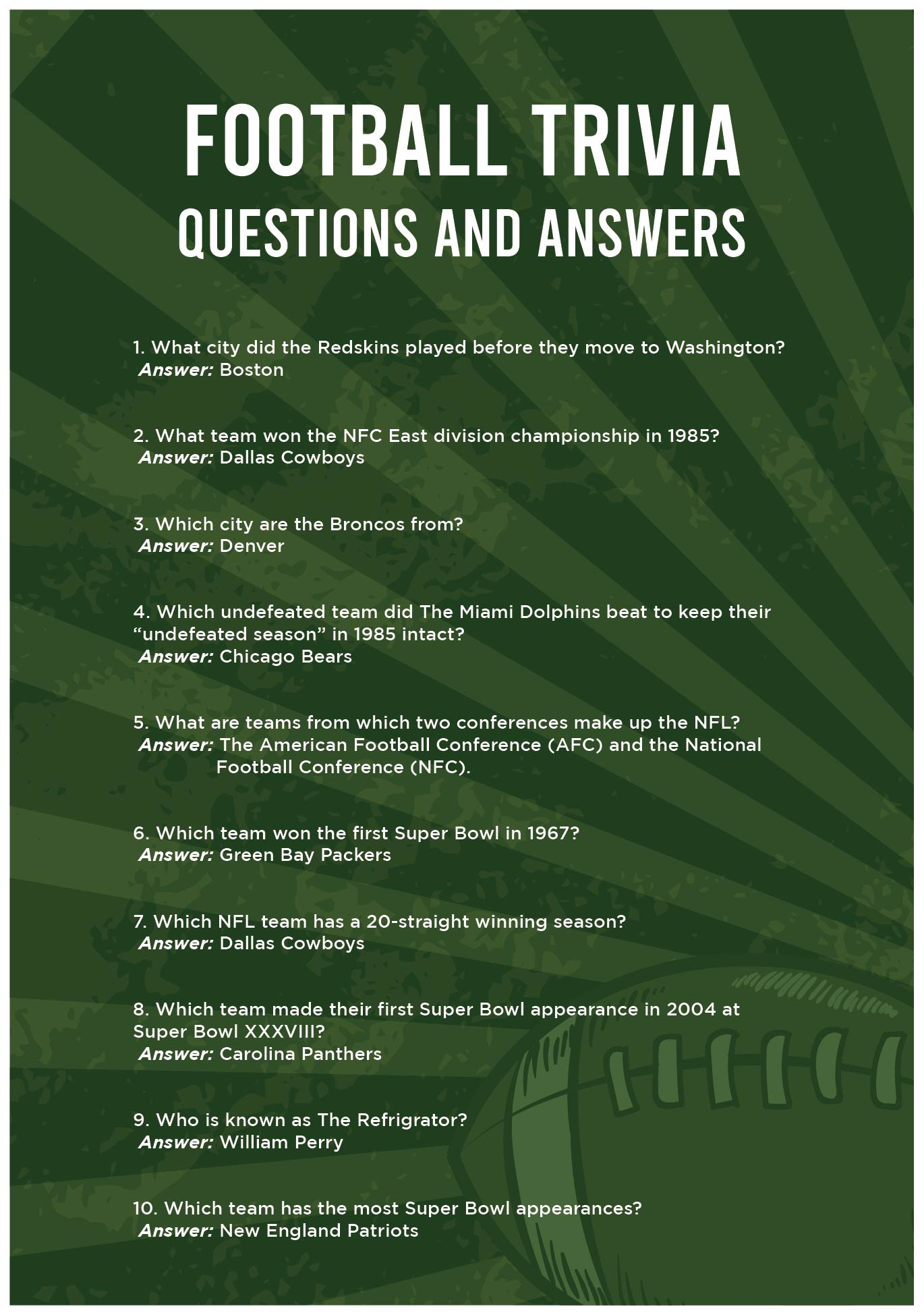 Football Trivia Questions and Answers