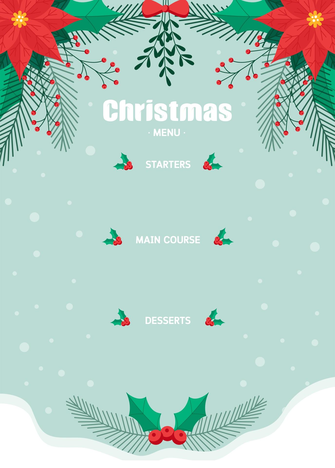 Christmas Menu Templates Word