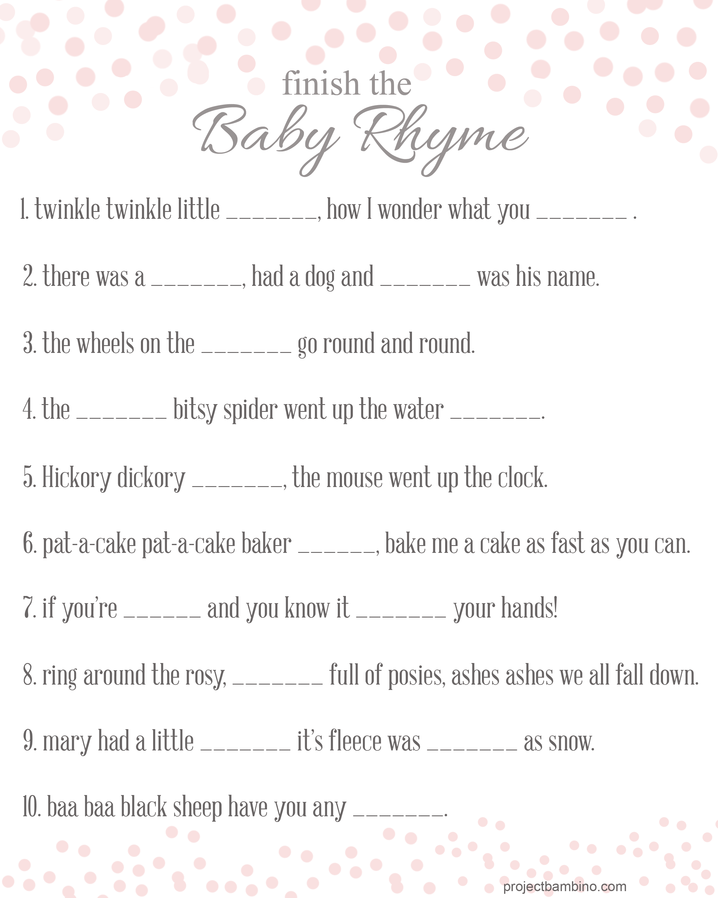 8 Images of Rhyme Game Printable Baby Shower