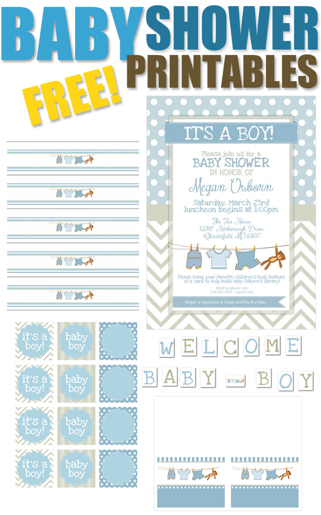 6 Images of Boy Baby Shower Free Printables