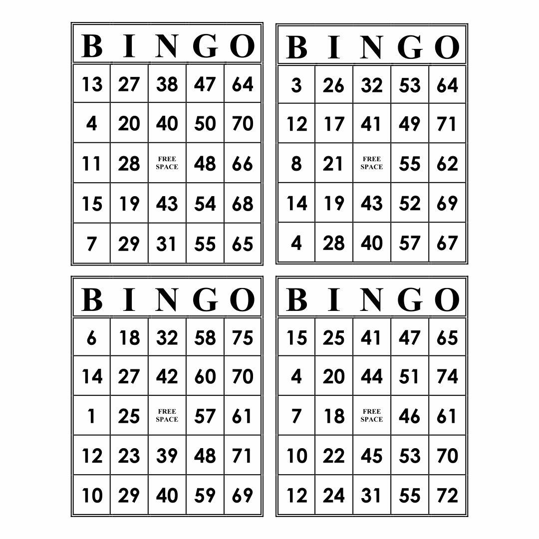 Printable Bingo Card Sheets