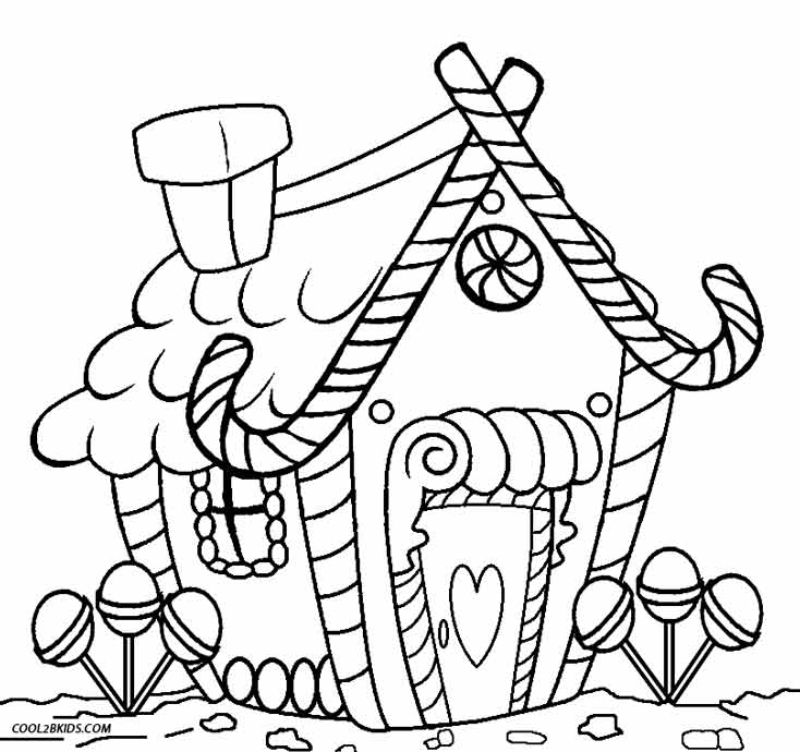6 Images of Gingerbread House Printable Coloring Pages