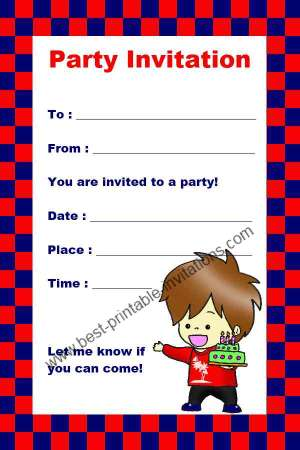 8 Images of Boys Birthday Party Invitations Printable