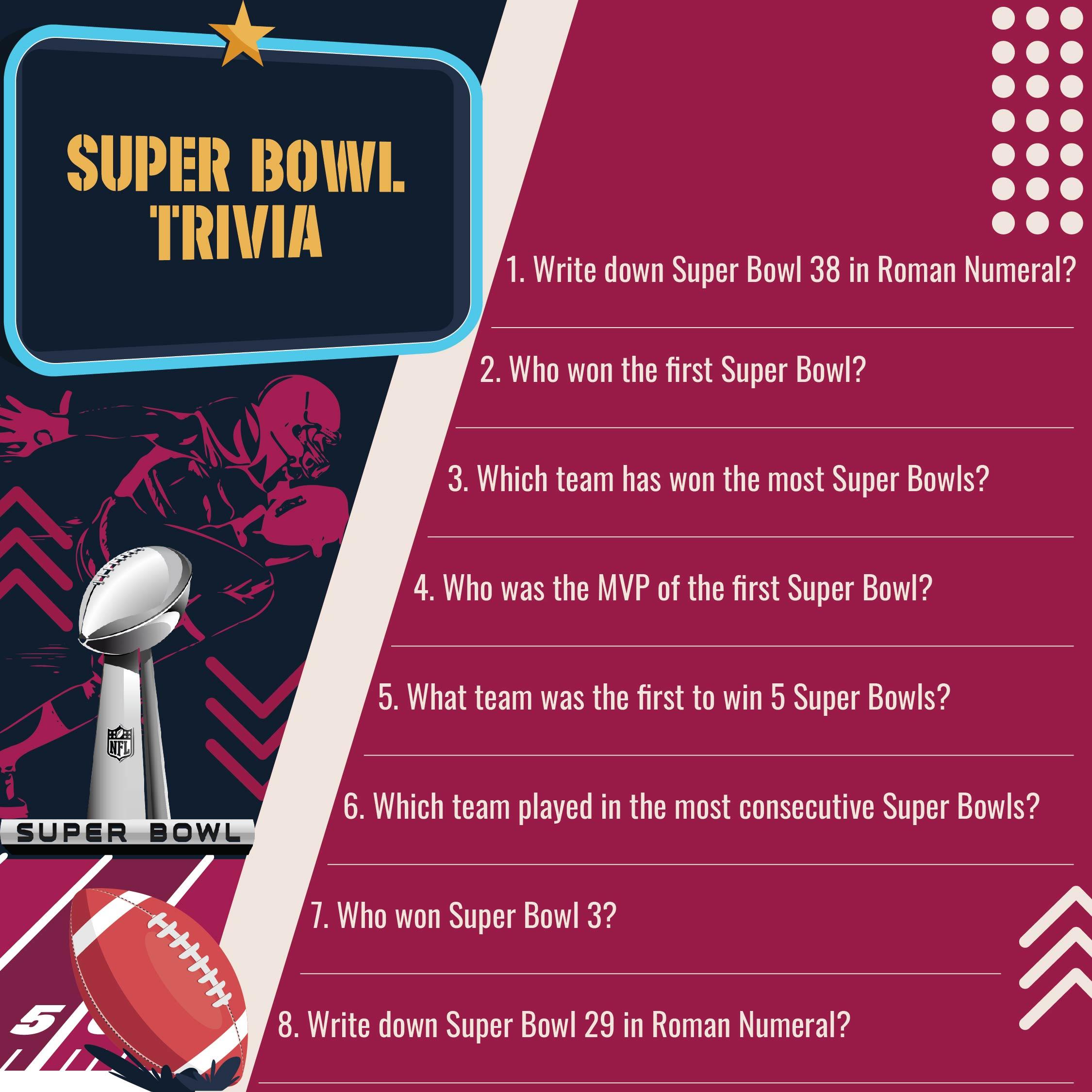 Free Printable Super Bowl Trivia Questions