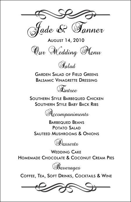 5 Best Images of Printable Wedding Menu Templates Free Printable – Dinner Menu Template Free