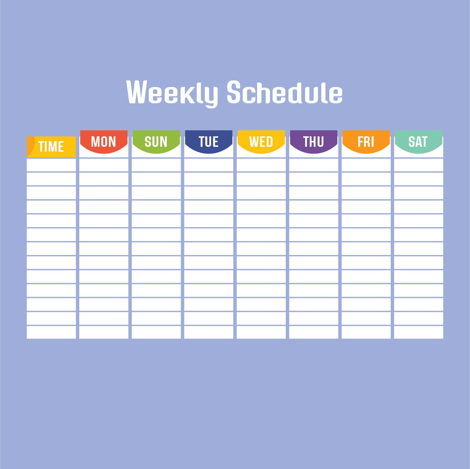 Weekly Work Schedule Template