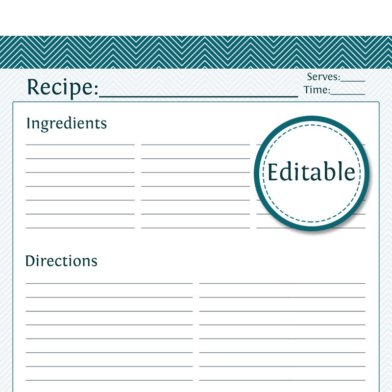 8 best images of full page printable recipe cards free for Free printable full page recipe templates