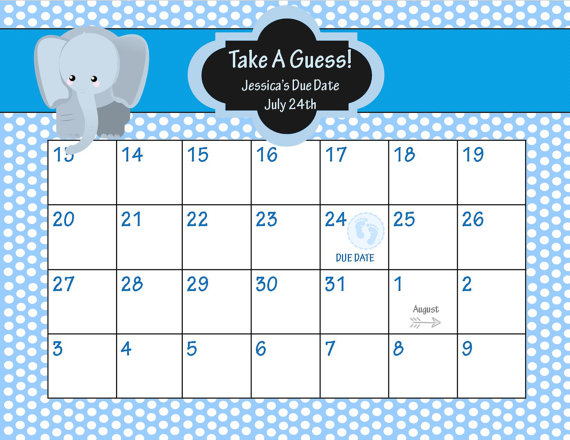 5 Images of Guess Baby Due Date Calendar Printable
