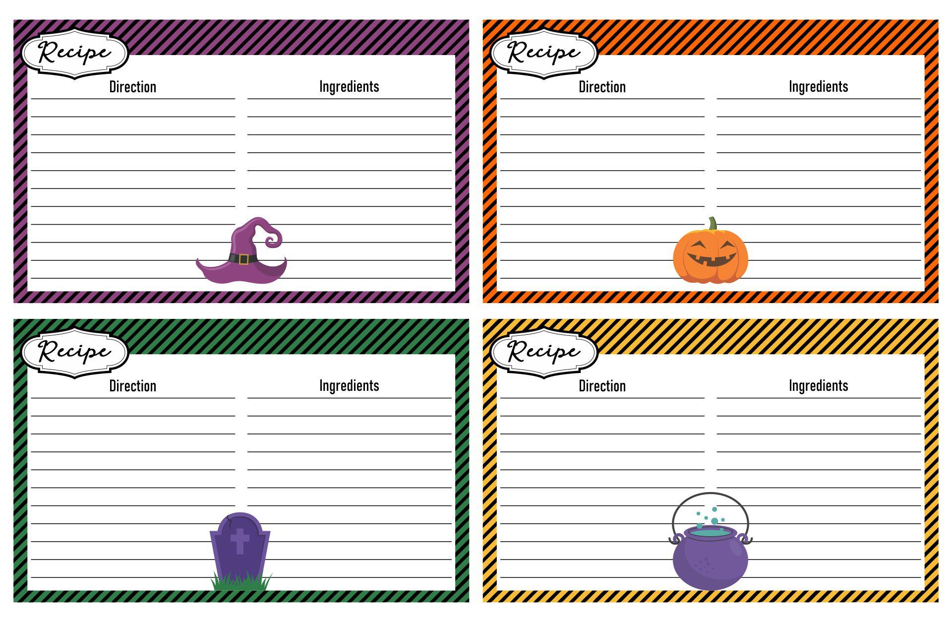 Halloween Recipe Card Template Printable