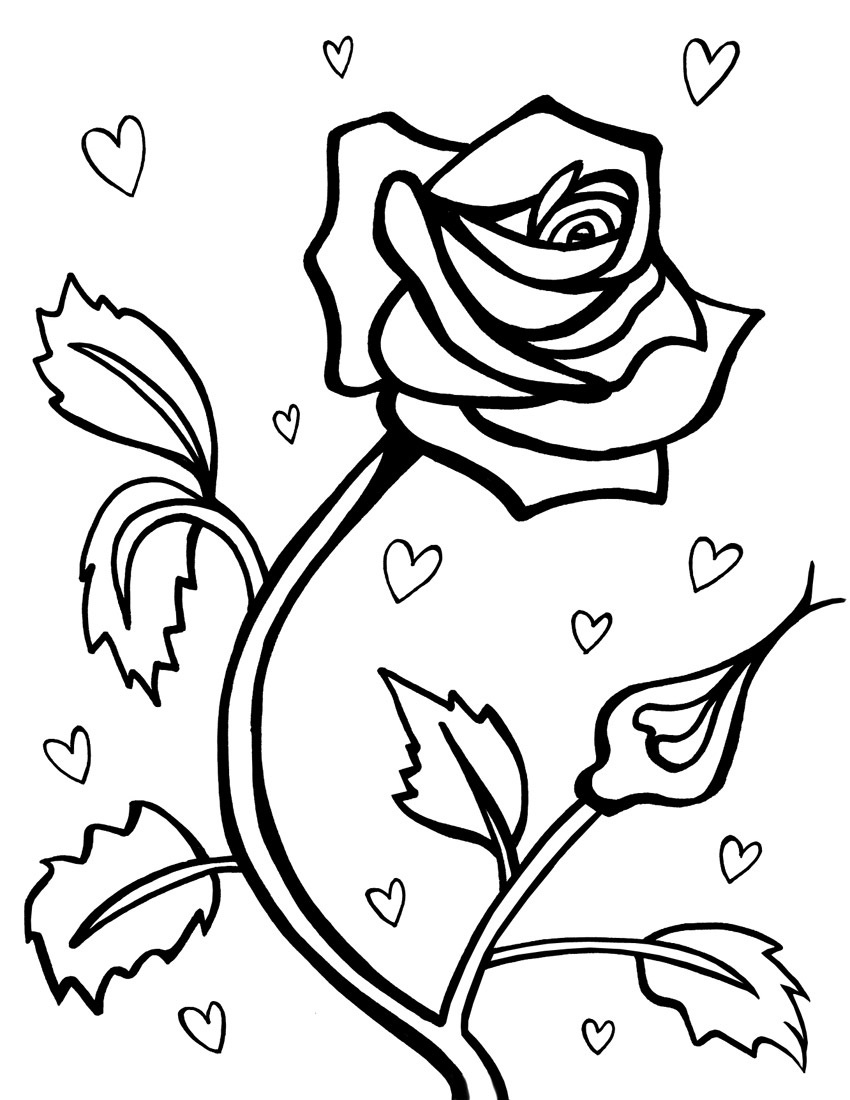 6 Images of Free Printable Rose Coloring Pages