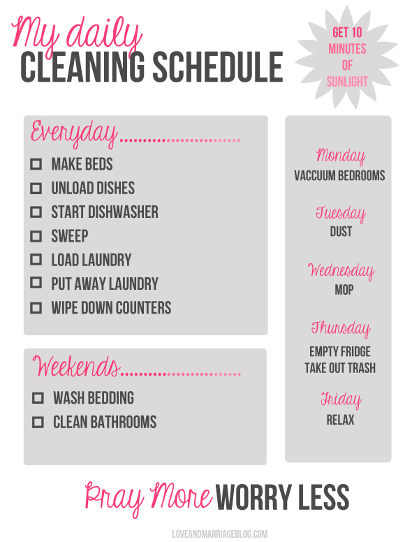 8 Images of Printable Daily Cleaning Schedule