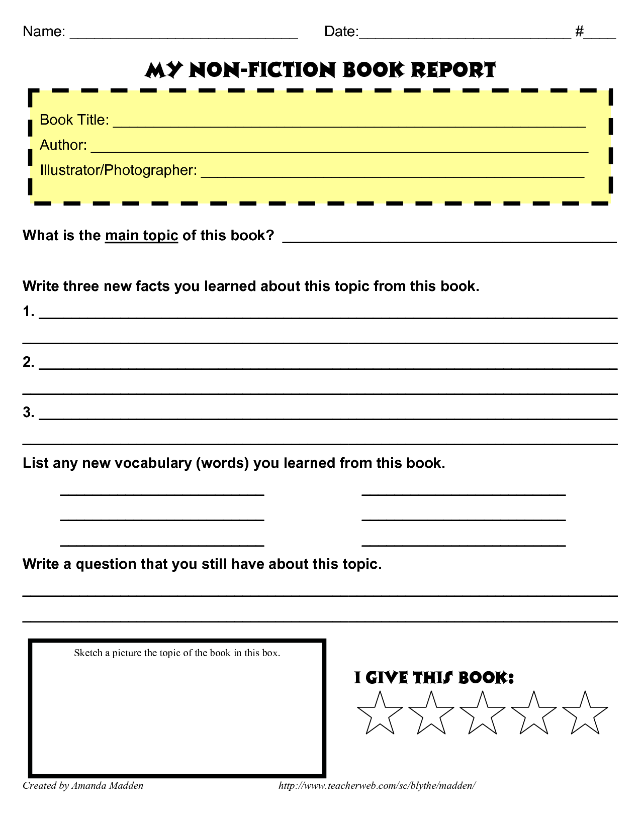 Book report templates for middle school