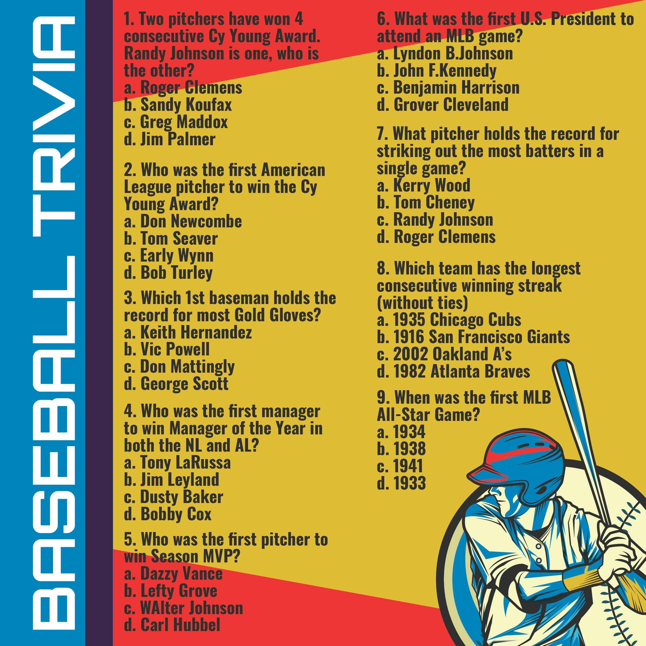 Printable Baseball Trivia Questions and Answers
