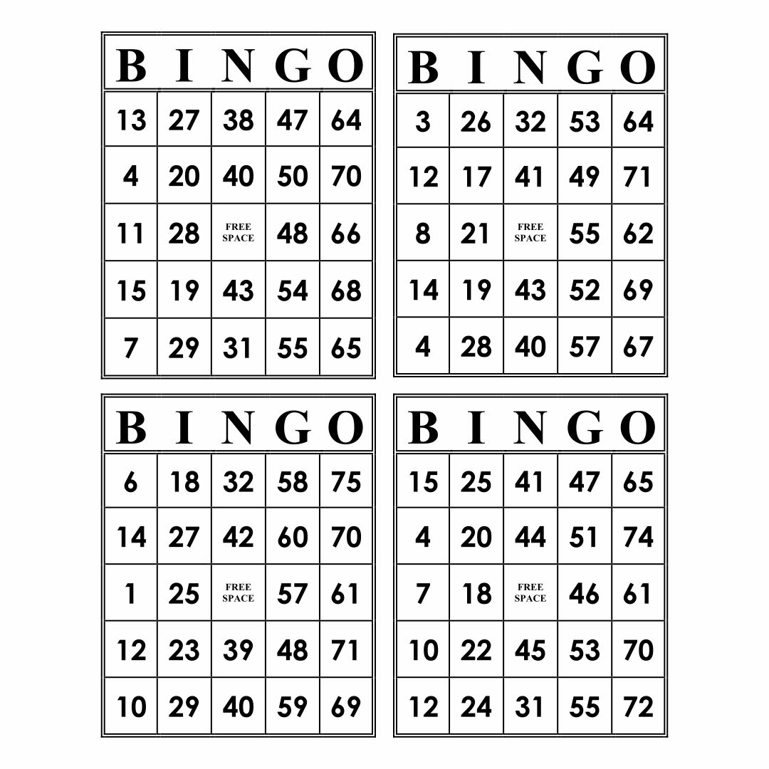 Printable Bingo Cards 4 Sheet