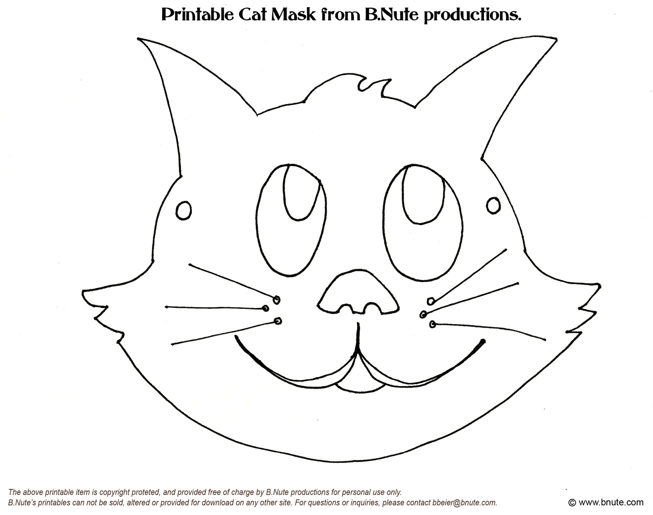 4 Images of Printable Cat Mask