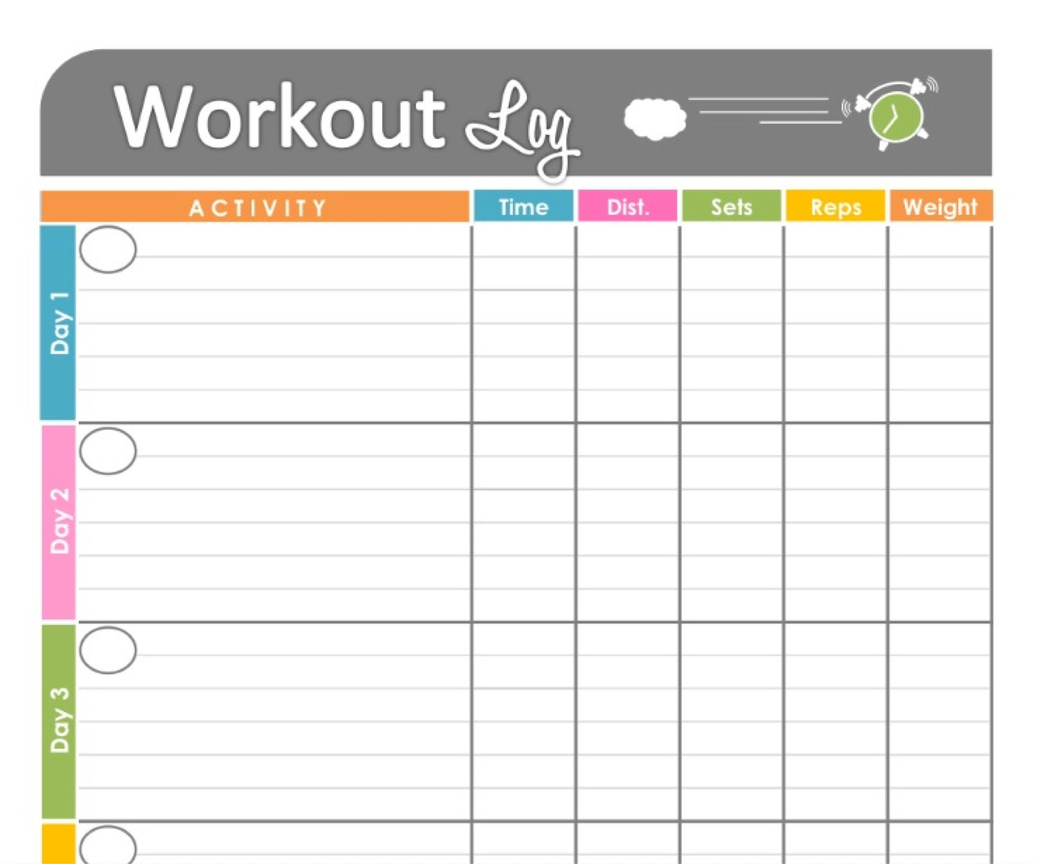 food and exercise journal template - 4 best images of printable workout tracking printable