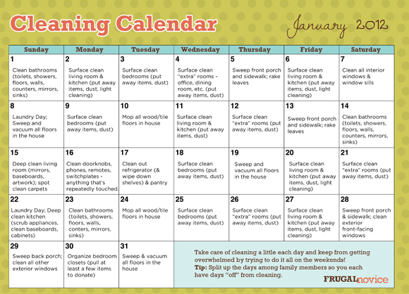 4 Images of Cute Printable Cleaning Schedule