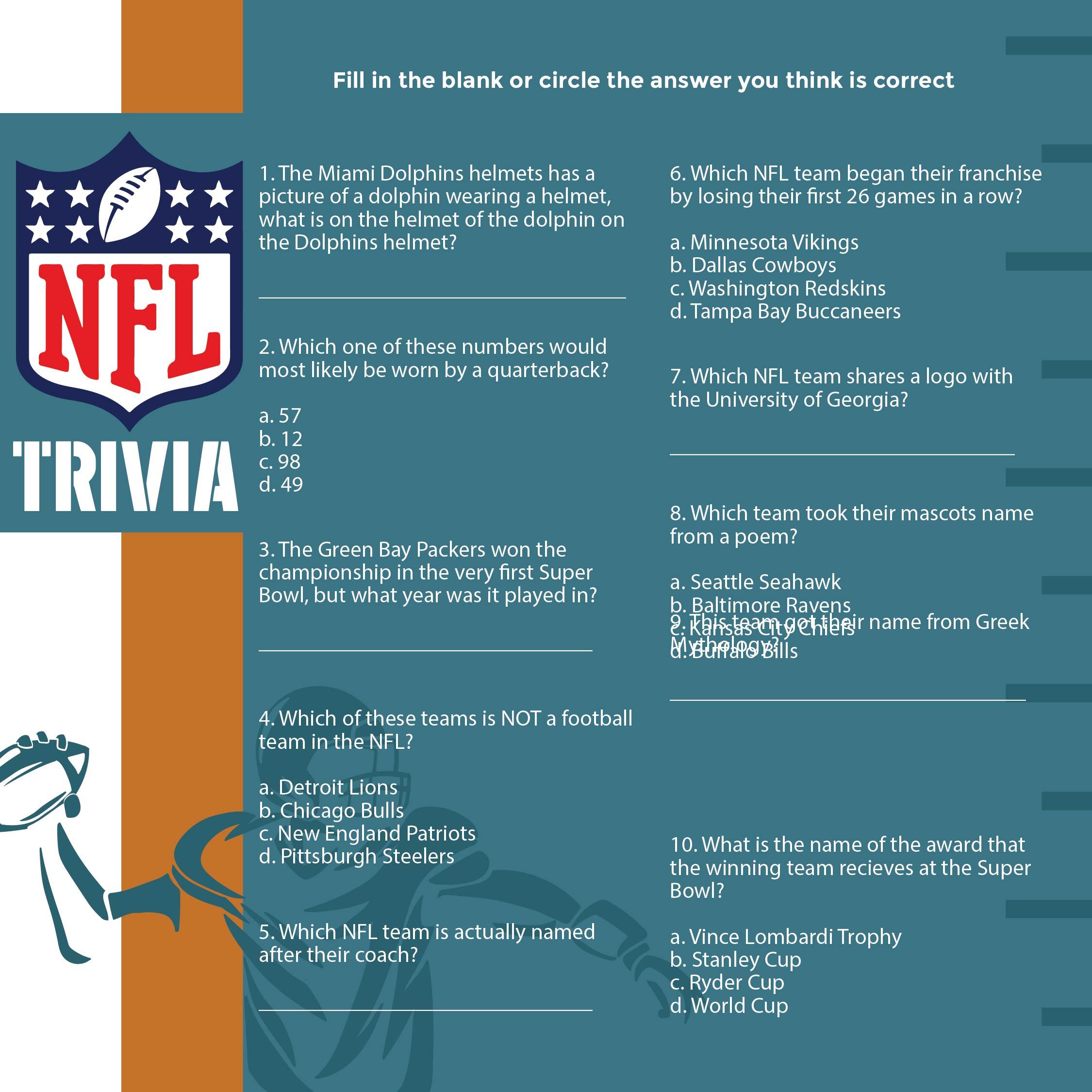 Printable NFL Trivia Questions