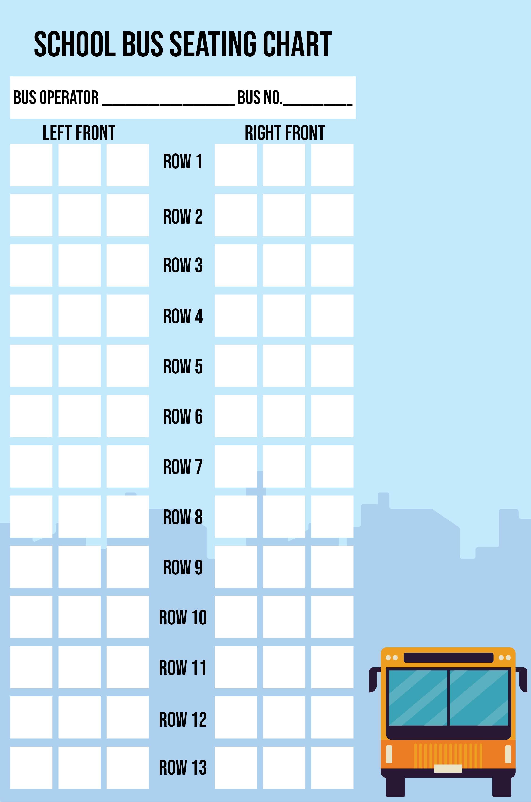 Printable School Bus Seating Chart