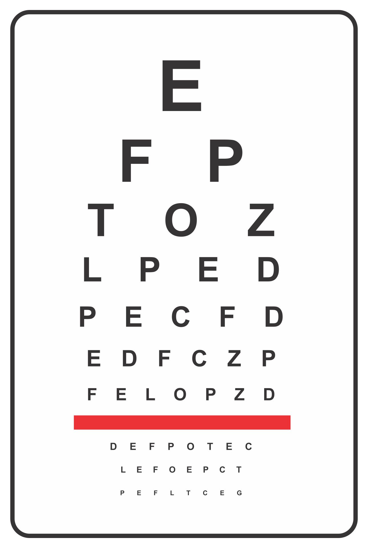 Printable Snellen Visual Acuity Chart