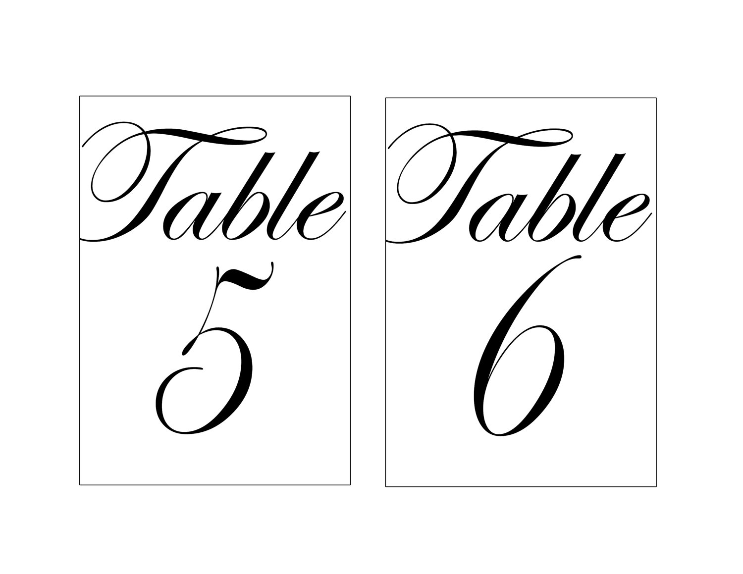 5 Images of 4X6 Printable Table Numbers Wedding